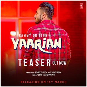 Yaarian Lyrics - Rammy Dhillon
